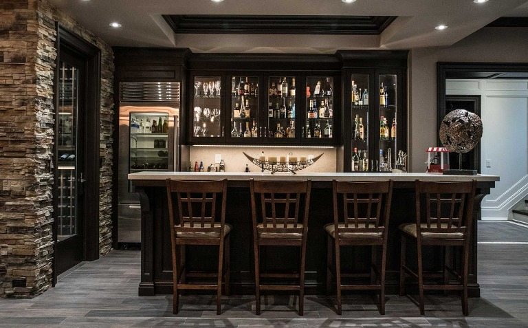 bar counter in house basement