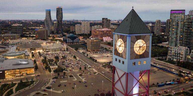 mississauga city hall drone photo